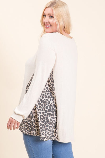 Sassy Girl Brushed Tunic with Animal Print Detail in PLUS