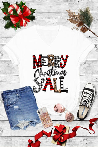 Merry Christmas Y'all Leopard Buffalo Plaid Graphic Tee