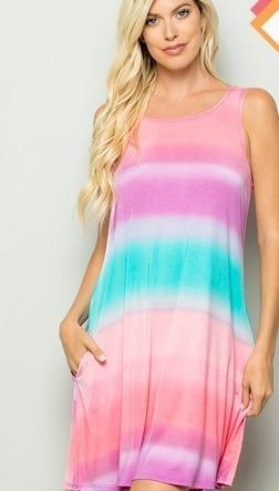 Marina Ombre Print Dress with Side Pockets