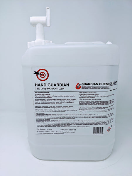 Hand Guardian 10L 75% IPA Hand Sanitizer with Spigot Made in Canada