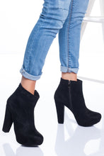 Load image into Gallery viewer, Women's Black Suede Heeled Boots