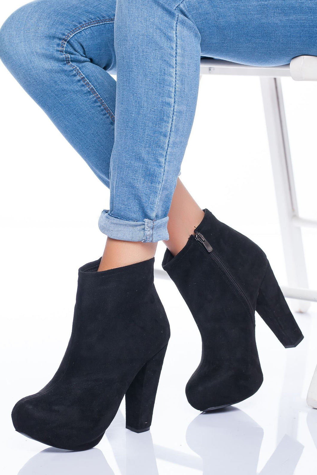 Women's Black Suede Heeled Boots
