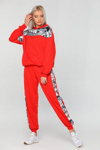 Women's Hooded Patterned Tracksuit