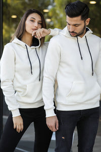 Unisex Hooded Ecru Sweatshirt