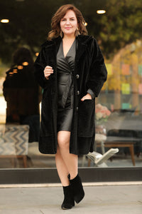 Women's Oversize Button Black Furry Coat