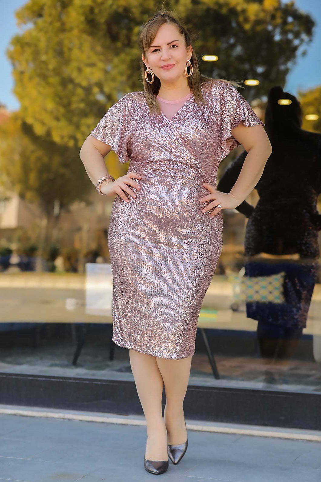 Women's Oversize Sequined Dusty Rose Evening Dress
