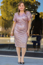 Load image into Gallery viewer, Women's Oversize Sequined Dusty Rose Evening Dress