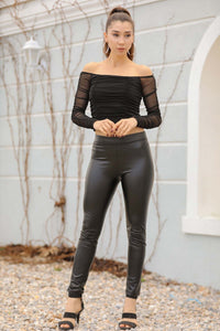 Women's Black Leather Tights