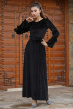Load image into Gallery viewer, Women's Belted Black Velvet Long Dress