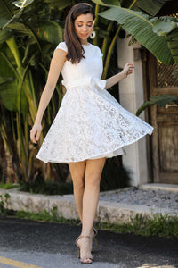 Women's Bow-tie Belted Ecru Lace Short Evening Dress