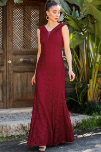 Women's Claret Red Lace Long Evening Dress