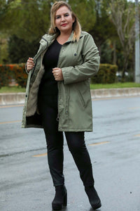 Women's Oversize Inner Furry Khaki Coat