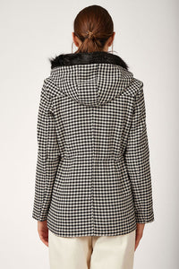 Women's Plaid Black Cachet Coat