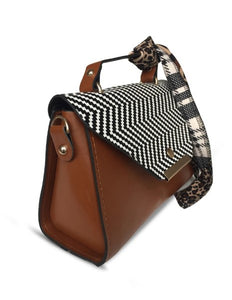Women's Kerchief Accessory Brown Crossbody Bag