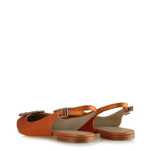 Women's Gemmed Orange Slingback Shoes