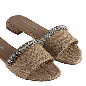 Women's Gemmed Linen Slippers