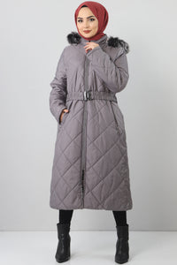 Women's Oversize Inner Fur Grey Quilted Coat