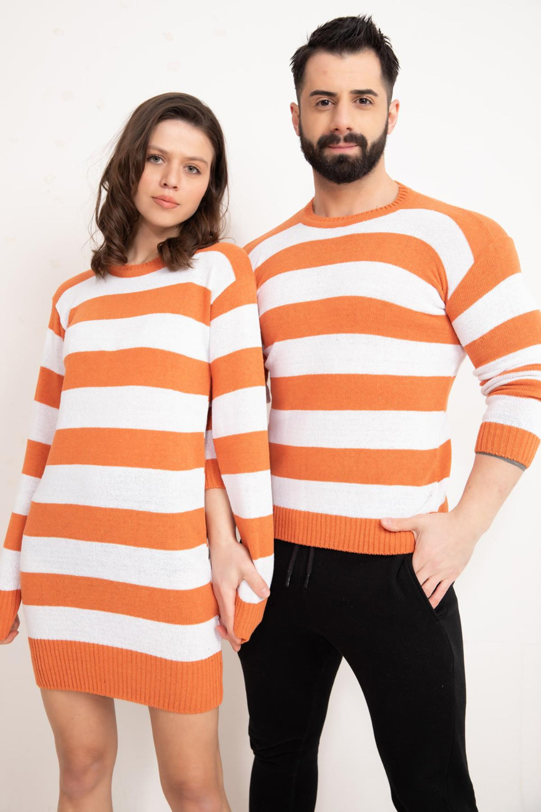 Couple's Striped Sweater Set