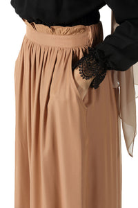 Women's Frill Brown Viscose Long Skirt