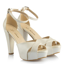 Load image into Gallery viewer, Women's Ankle Strap Off-White Bridal Heeled Shoes