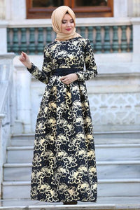 Women's Black Jacquard Evening Dress