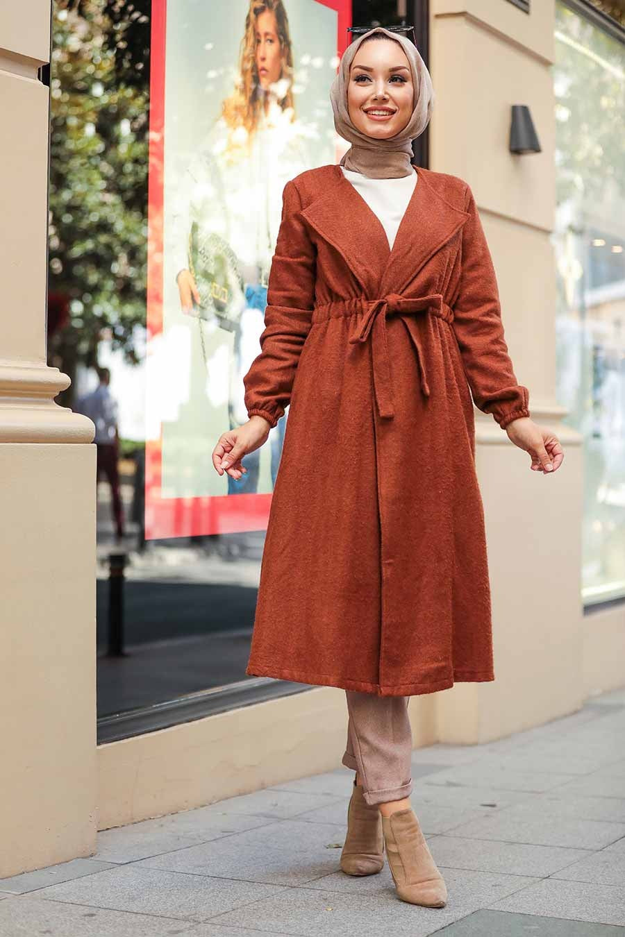 Women's Tie Waist Ginger Modest Coat