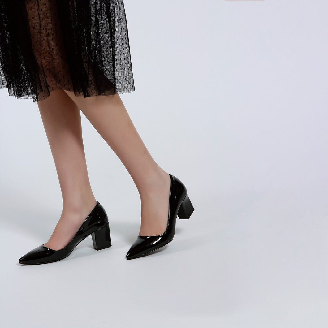 Women's Thick Heeled Black Patent Leather Shoes