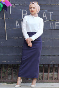 Women's Navy Blue Suede Long Skirt