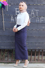 Load image into Gallery viewer, Women's Navy Blue Suede Long Skirt