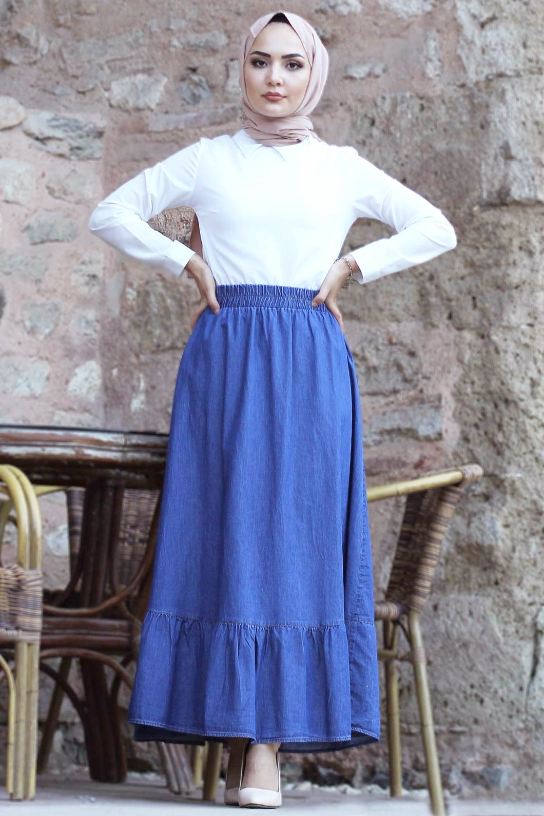 Women's Ruffle Hem Blue Denim Long Skirt