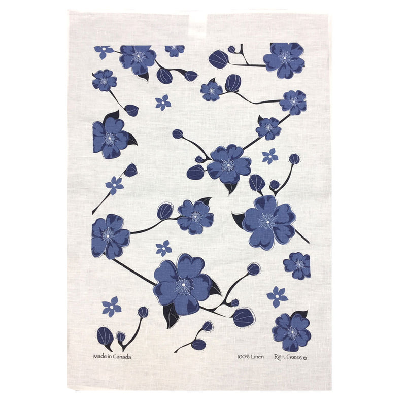 Tea Towel Cherry Blossoms Blue