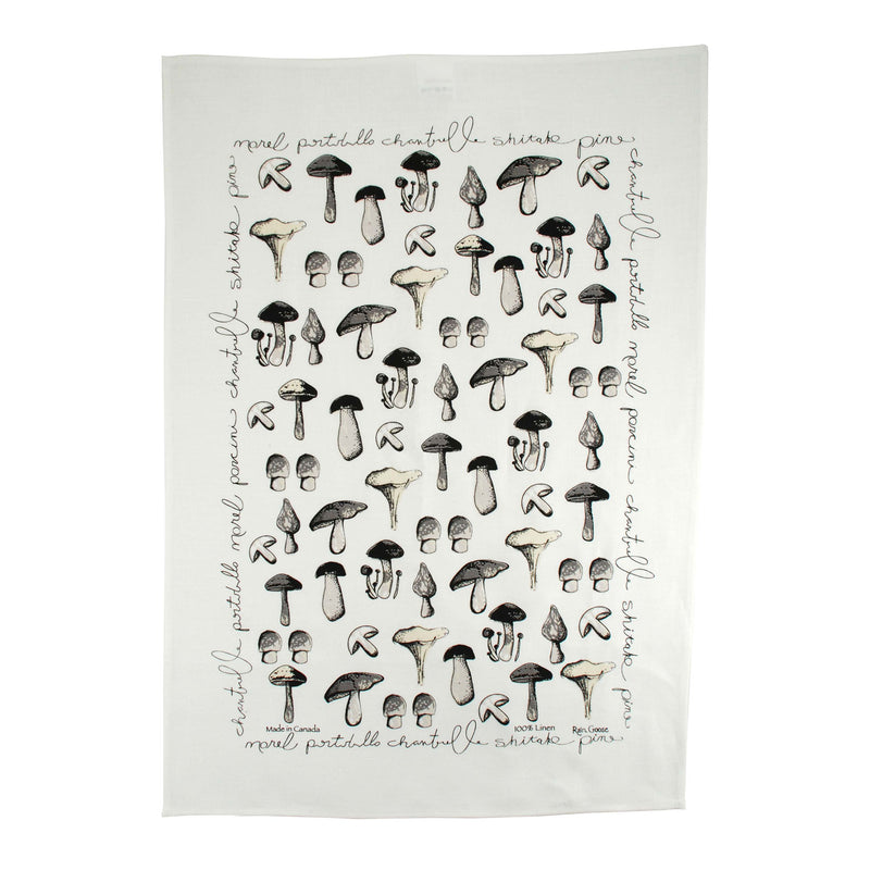 Tea Towel Mushrooms White