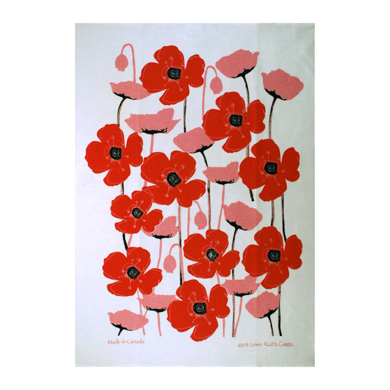 Tea Towel Poppy Red