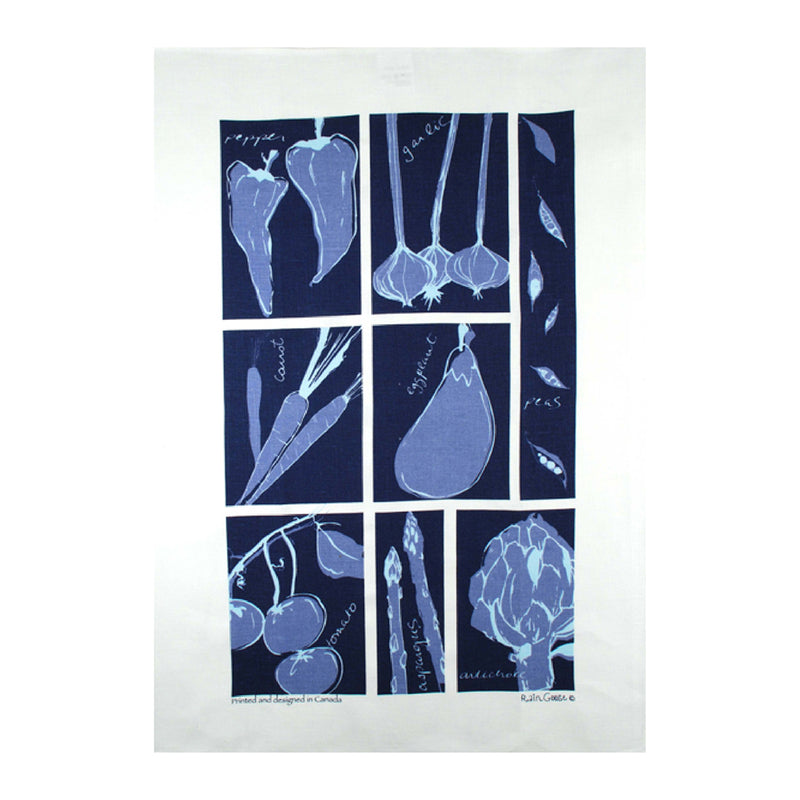 Tea Towel Vegetable Blue