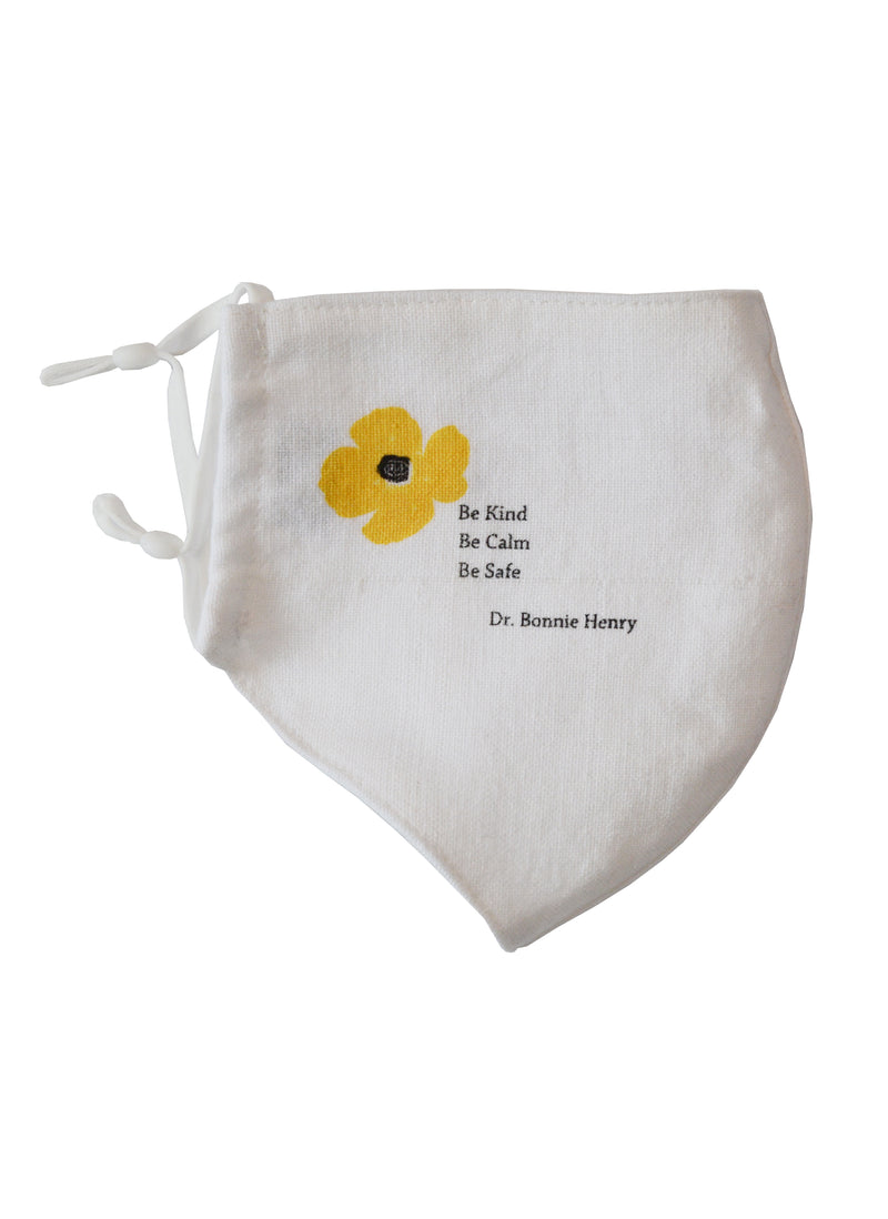 Cotton Face Mask with Linen Lining Dr. Bonnie Henry Yellow