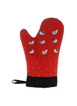Oven Mitts Bird Red
