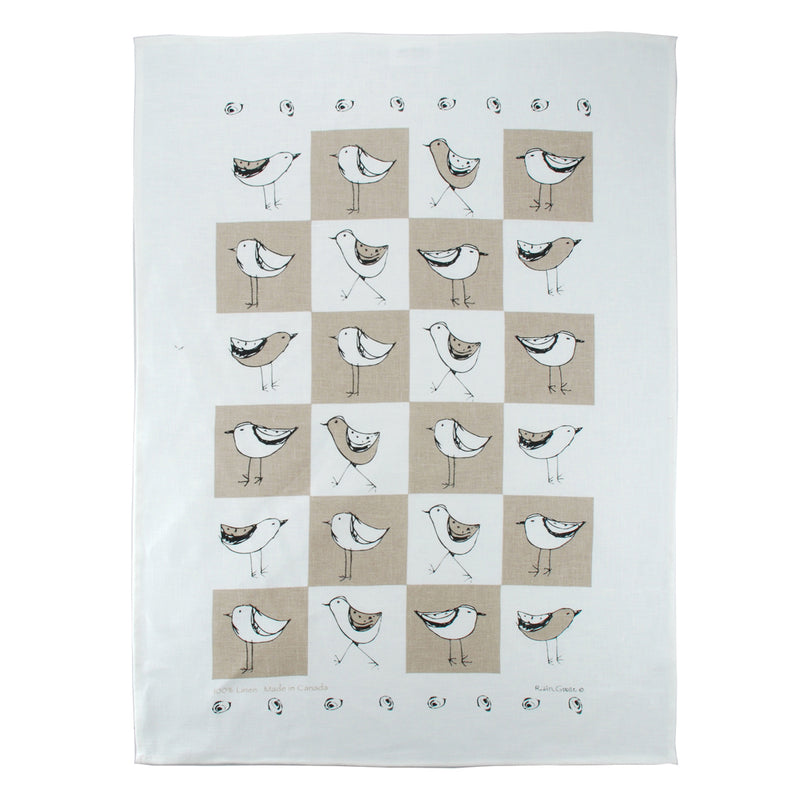 Tea Towel Bird Taupe