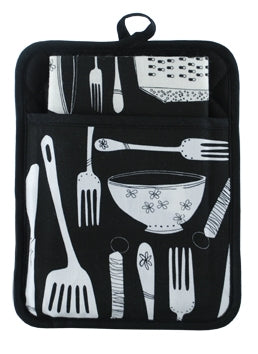 Pocket Pot Holder Black Utensils