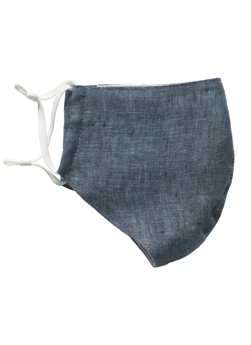 Linen Face Mask with Linen Lining Indigo
