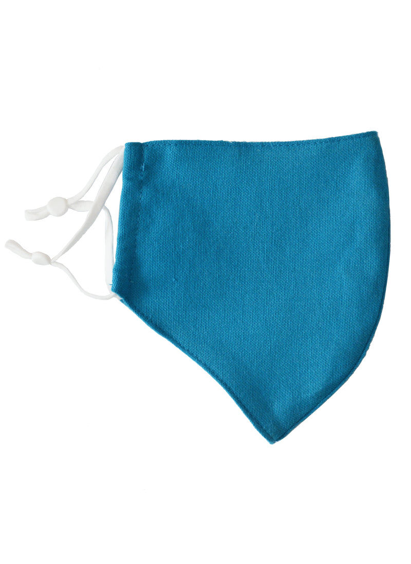 Cotton Face Mask with Linen Lining Blue