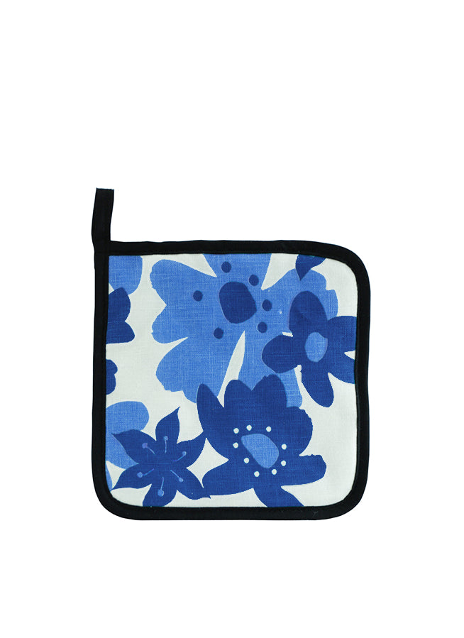 Pot Holder Flowers Blue