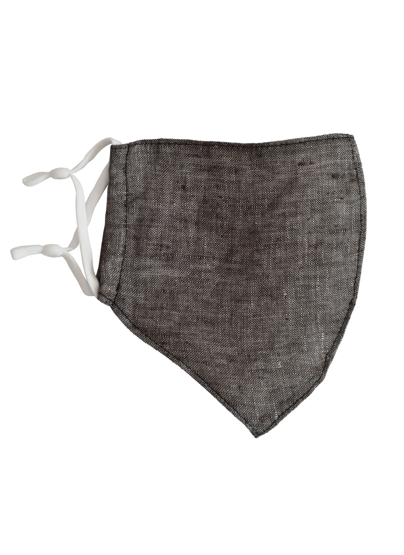 Linen Face Mask with Linen Lining Dark Grey