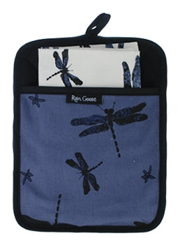 Pocket Pot Holder Dragonfly Blue