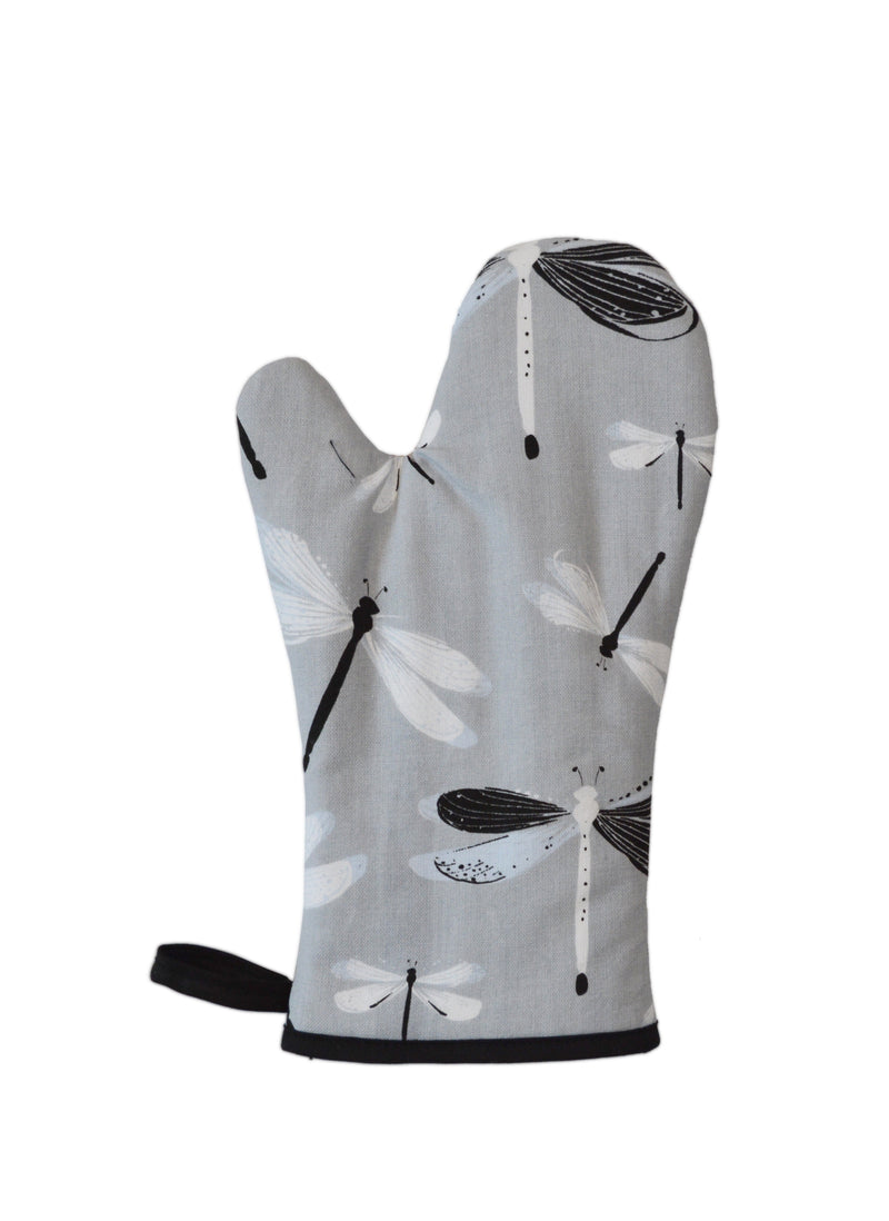 Oven Mitt Dragonfly Grey