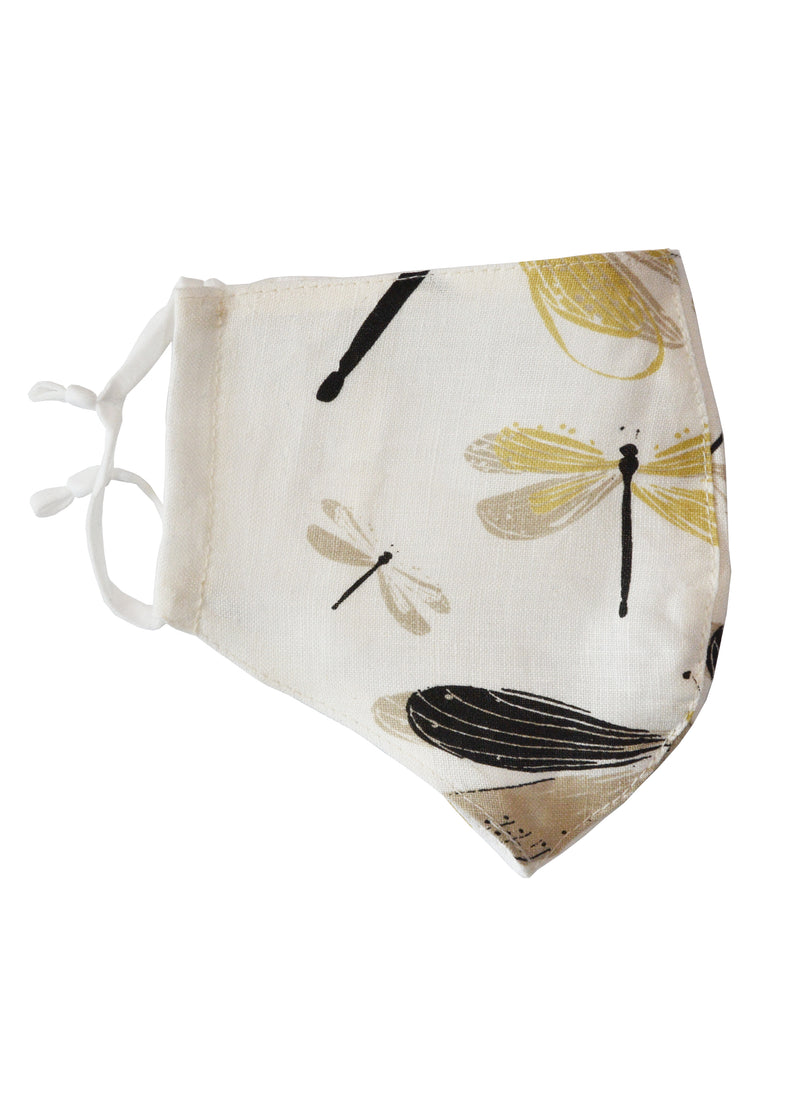 Linen Face Mask with Linen Lining Dragonfly
