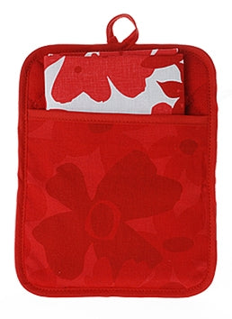 Pocket Pot Holder Flower Red