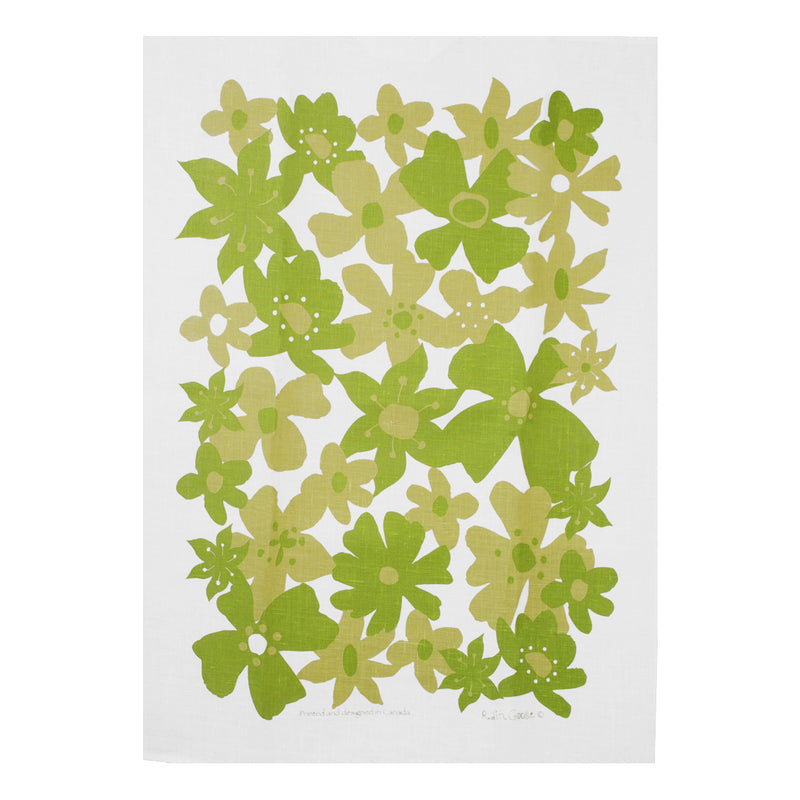 Tea Towel Flowers Green