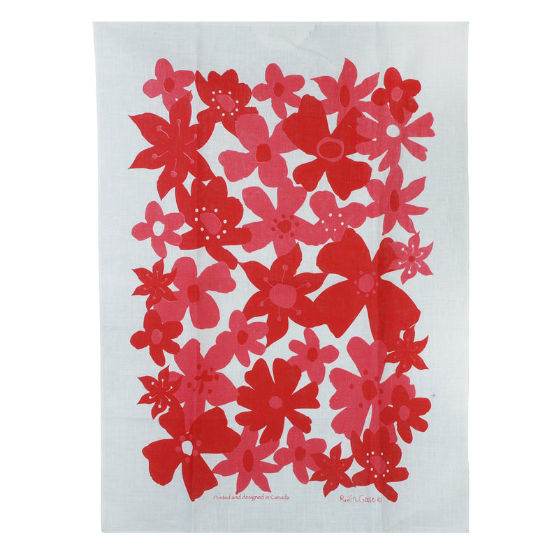 Tea Towel Flowers Red