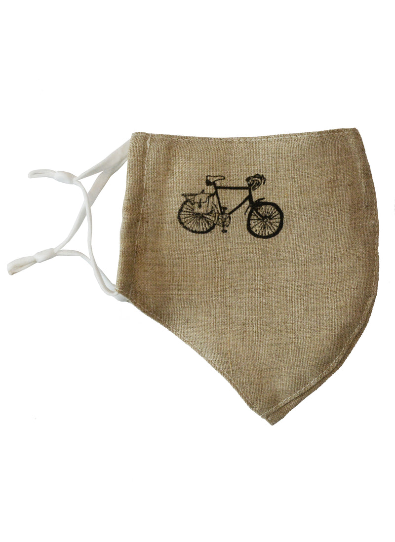 Cotton Face Mask with Linen Lining Bicycle