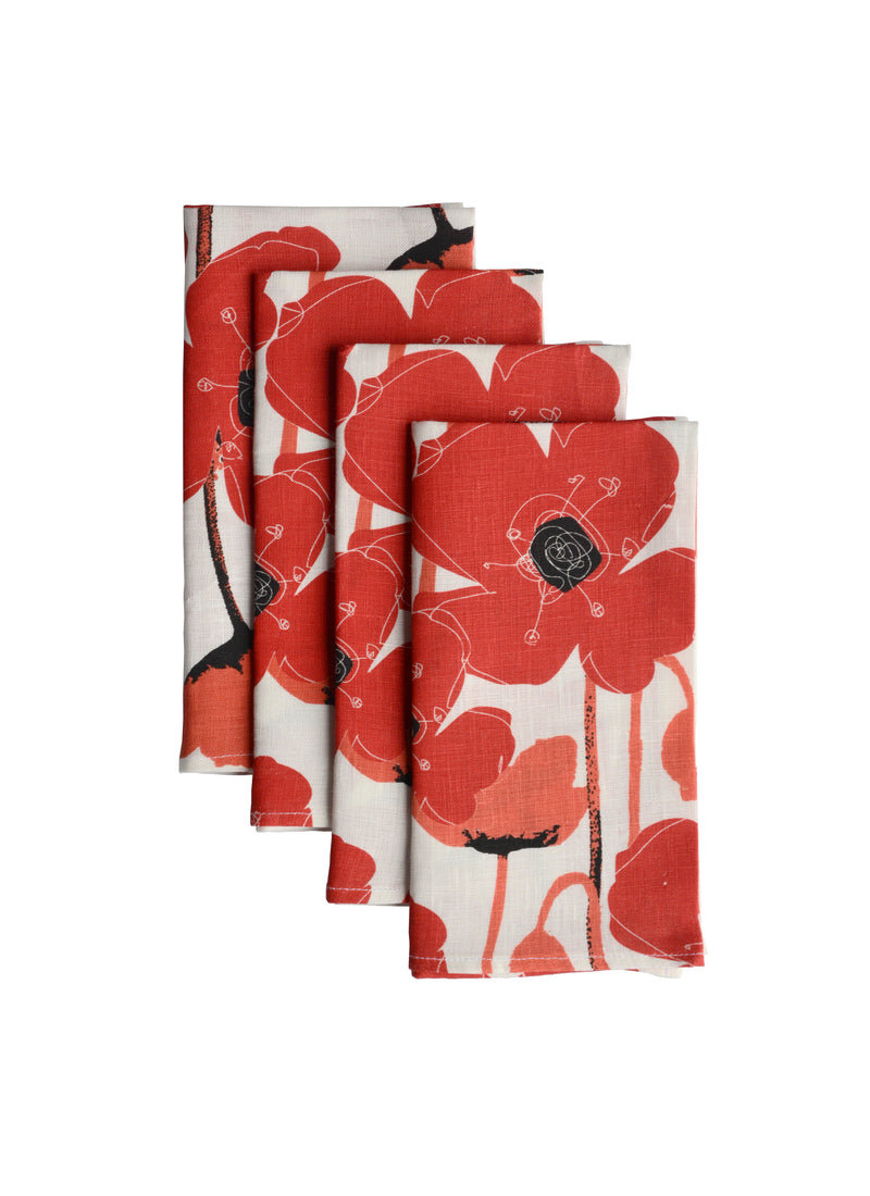 Napkins Poppies White